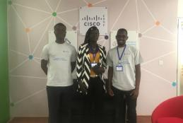 Photo: CEBIB students - Nehemiah, Sonia and John at C4D Lab
